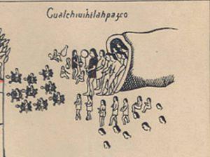 (Detalle de la salida de 7 personas de una cueva. Enfrente la escena de 9 personas pasando el mar, arriba de unas tortugas).