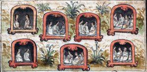 (Por otro lado Diego Durán, también rescató un dibujo donde se muestran las 7 tribus fundadoras).